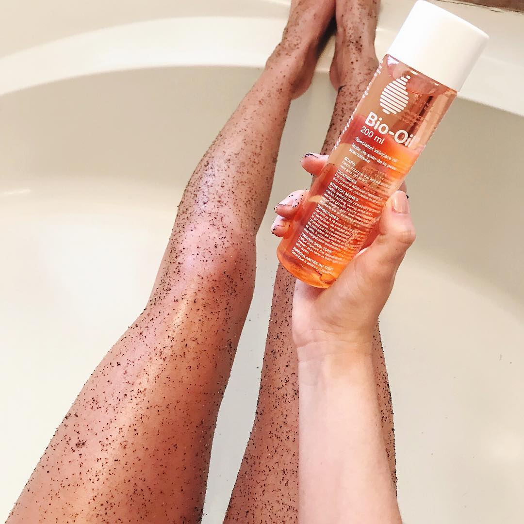 bio oil and coffee scrub