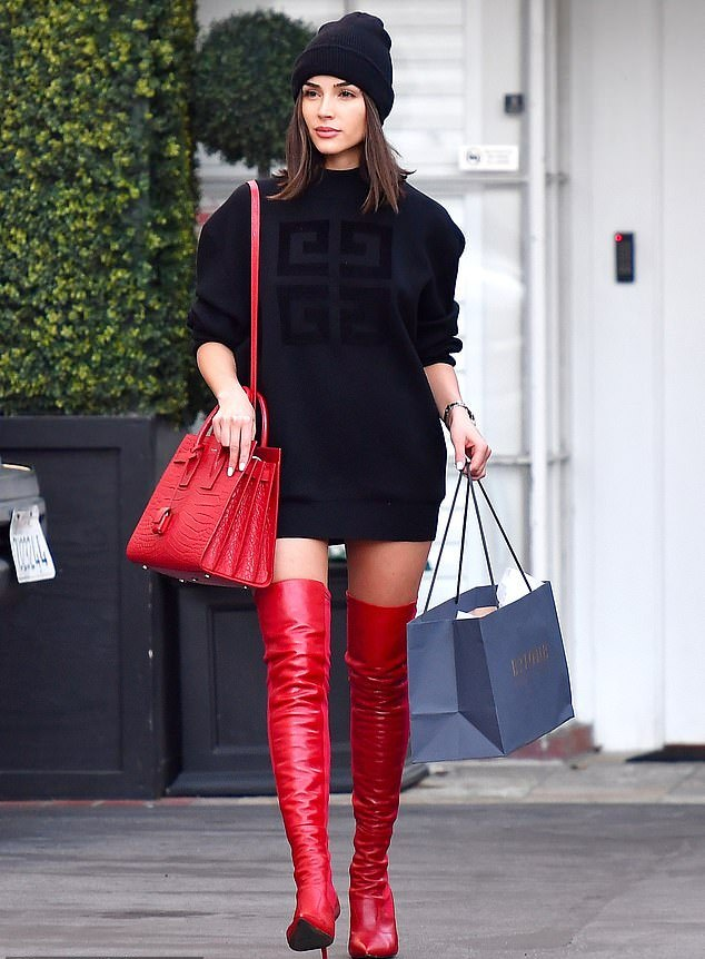 Olivia Culpo Fendi thigh high boots - street style - December 7
