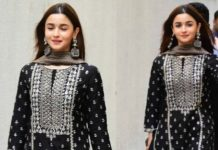 Alia Bhatt - Black sharara set - Anita Dongre for movie promotions