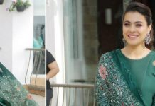 Green Anarkali Churidaar suit AM PM Fashions- Kajol Devgan