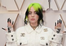 Billie Eilish, oscars 2020 red carpet, neon green hair, long black nails - Major Mag