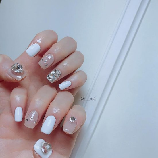 3 Nude Nails With Bling and Glitter
