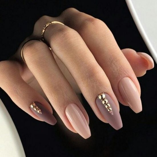 8888Nude Nails With Bling and Glitter