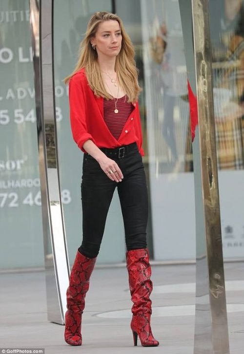 Image snakeskin red boots street style